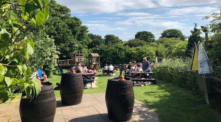 The beer garden at The Beehive in Whitley Bay