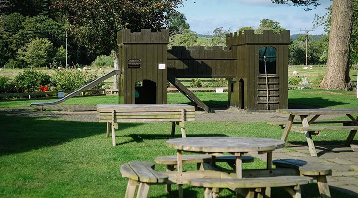 The play area and beer garden at The Sun Inn at Pooley Bridge