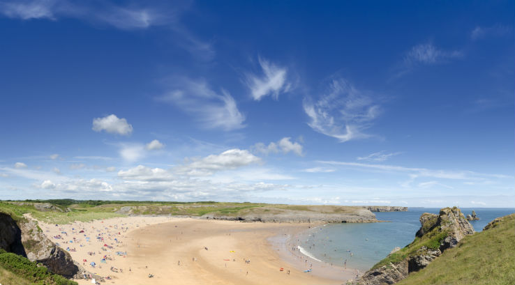 Blue skies over Broad Haven South Beach in Pembrokeshire