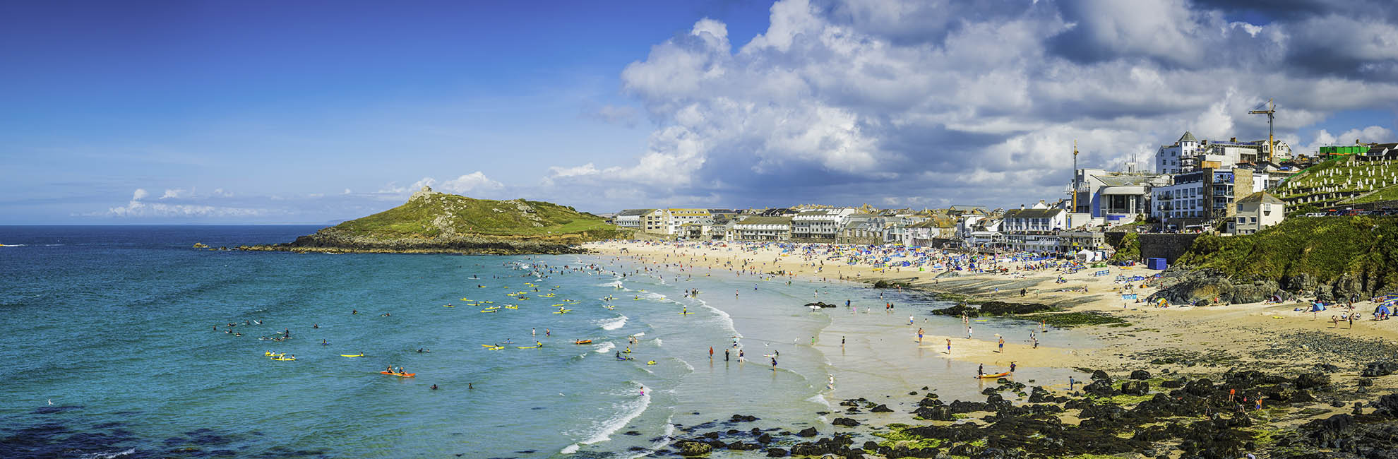 Surfers in the bay at St Ives