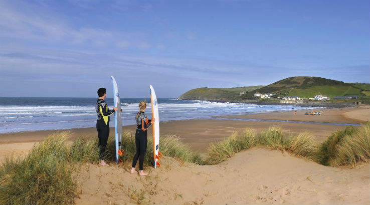 Surfers overlooking Croyde Bay