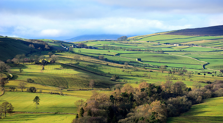 A panoramic view of the Yorkshire Dales National Park