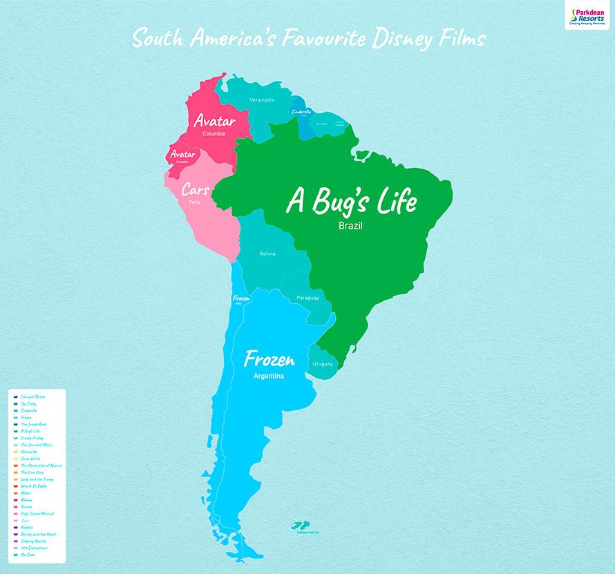 Mapa de Películas Disney en América Latina