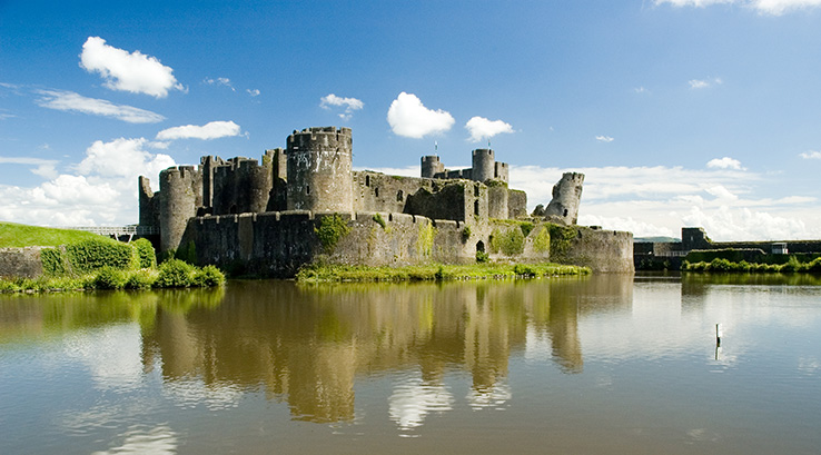 Caerphilly Castle and surrounding lake