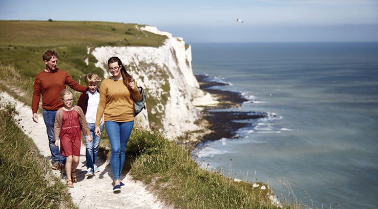 Family walking along the White Cliffs of Dover