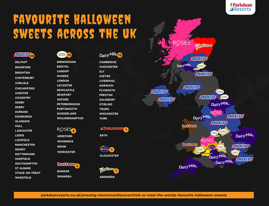 A map of the UK's favourite Halloween sweets