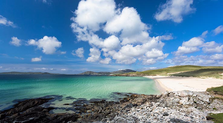 Blue waters of Luskentyre Beach in Scotland