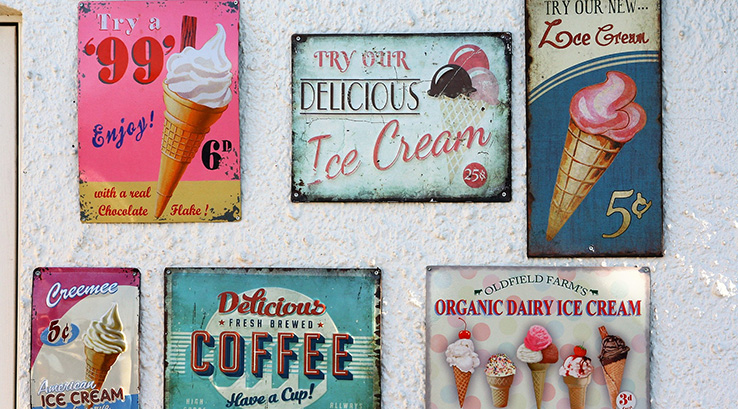 Retro Ice cream signs