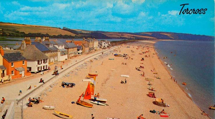 Vintage postcard of Torcross in Devon in the 1950s
