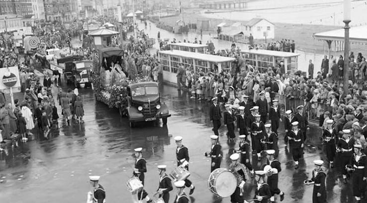 Black and white vintage photo of Weymouth Carnival in Dorset