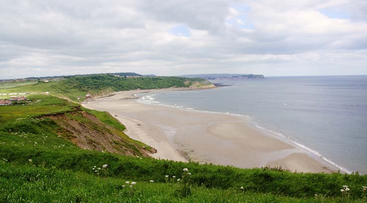 View of Cayton Bay Beach in Yorkshire