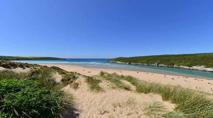 A view of Crantock Beach in Cornwall