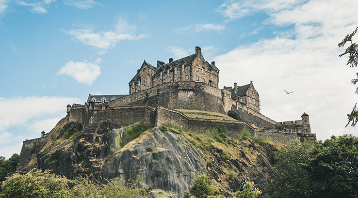 A view of Edinburgh Castle from below