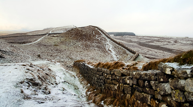 Hadrian's Wall on a frosty winter's day