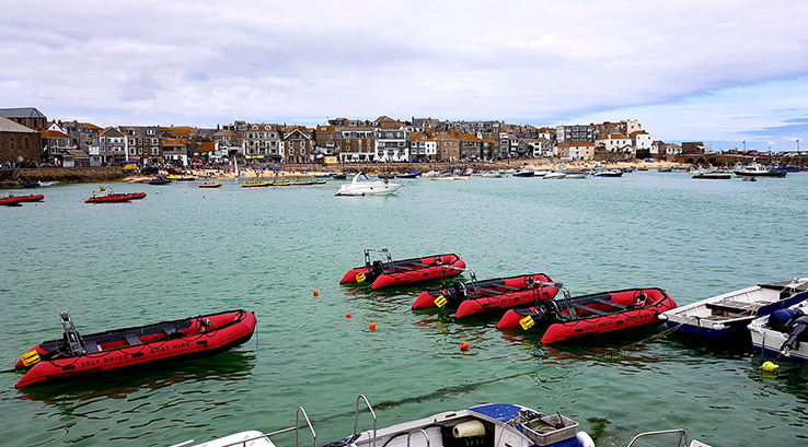 Boats docked on the harbour at St Ives