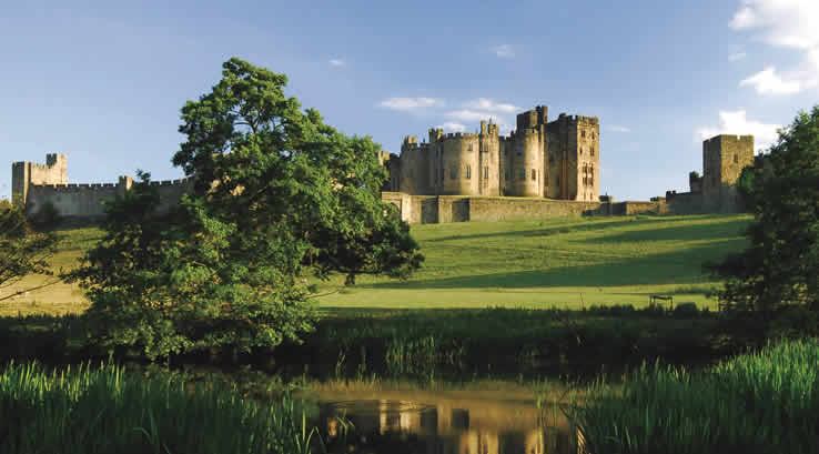 View of Alnwick Castle across the river