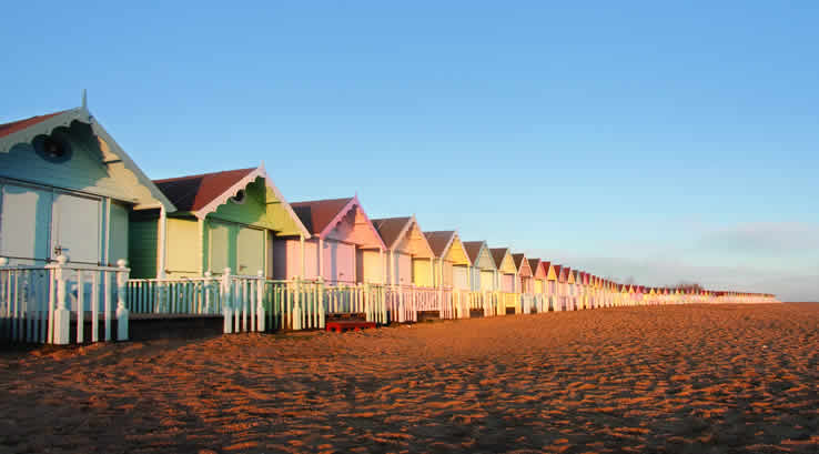 Beach huts on a sandy beach