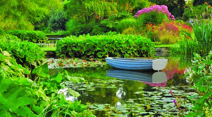 A rowing boat on a lake surrounded by trees and flowers