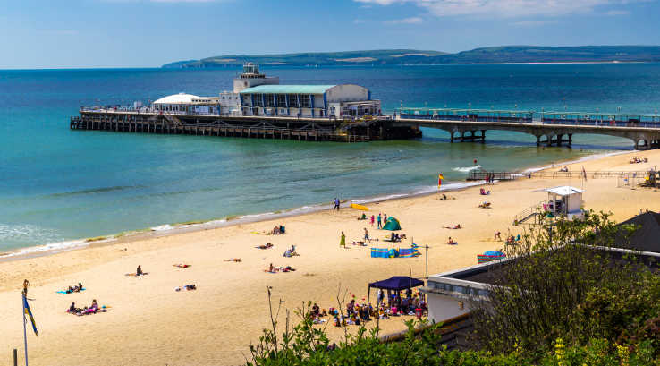 The beach and pier at Bournemouth