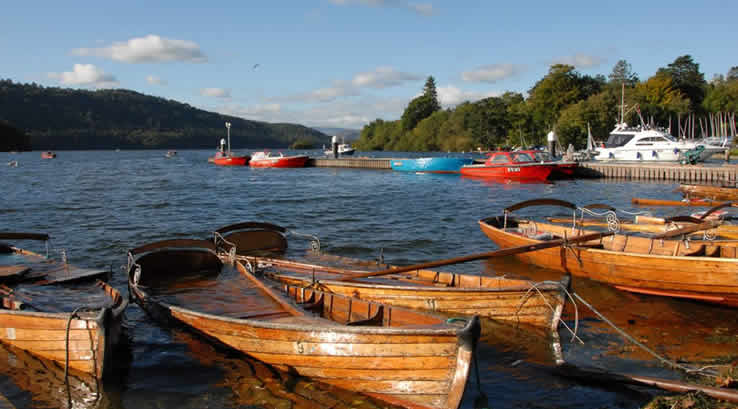 Boats on the water at Bowness