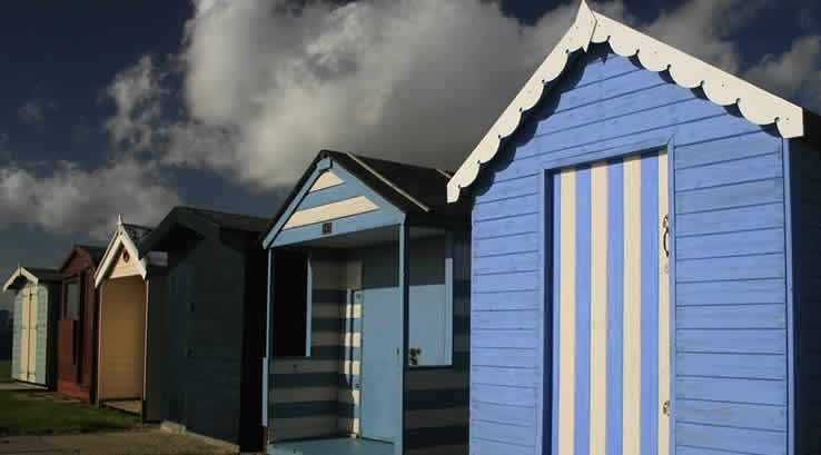 Beach huts on the promenade at Brightlingsea