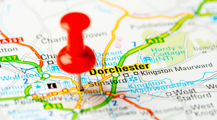 Dorchester pin-pointed on a map