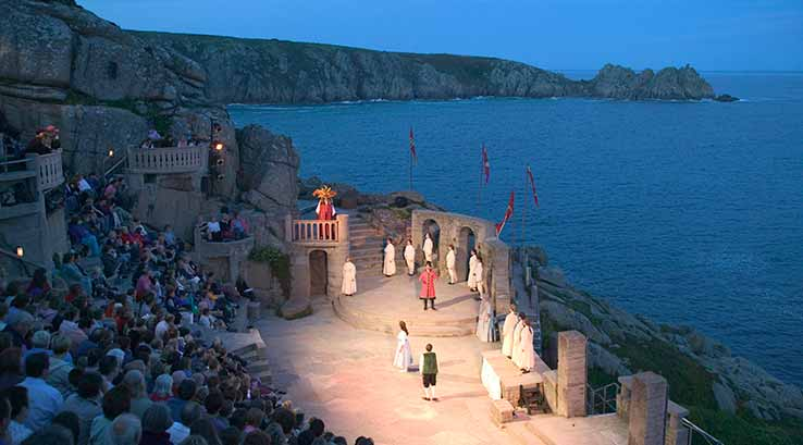 A night time production at the Minack Theatre