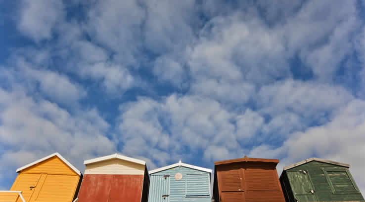 Seaside beach huts at Frinton on Sea