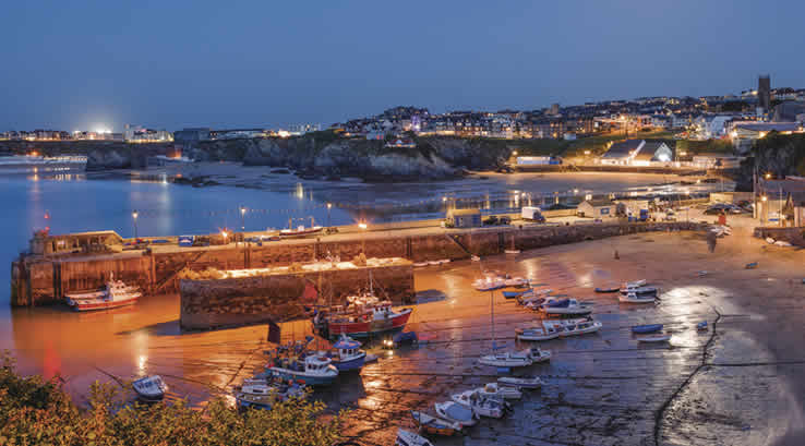 Newquay Harbour at night