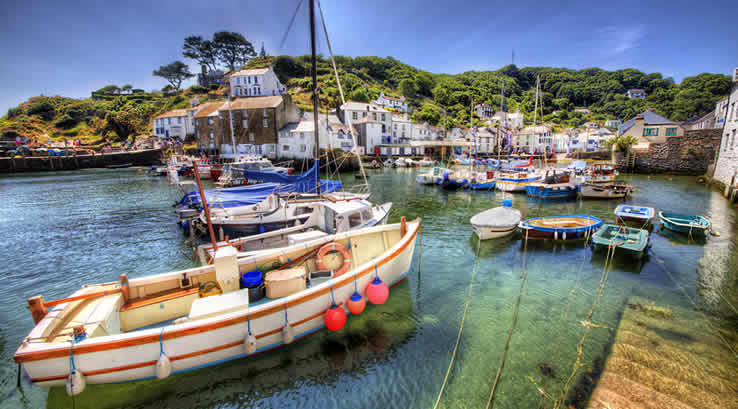 Fishing boats on the harbour at Polperro