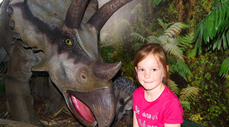Little girl with a model triceratops at Torquay Dinosaur World