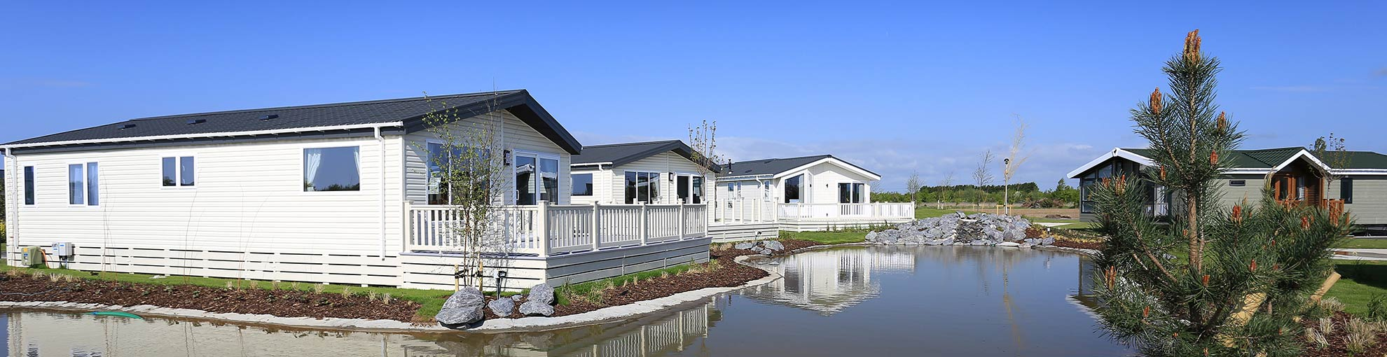 Lakeside lodges.