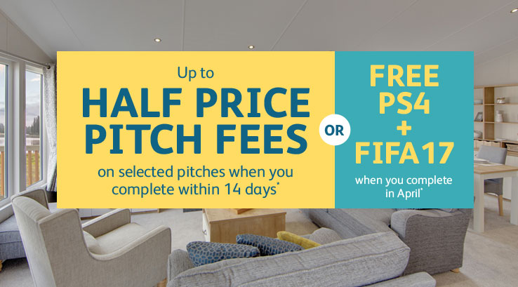 half price pitch fees on caravans and lodges for sale