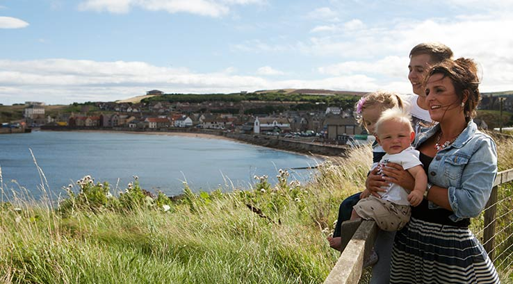 A clifftop view of Eyemouth beach