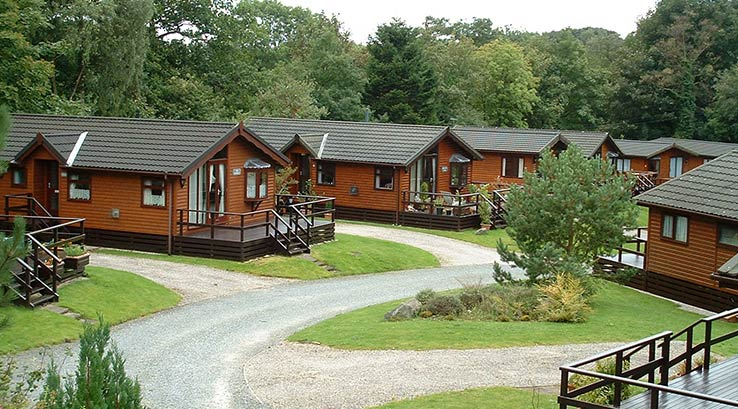 Wooden lodges at Gatebeck