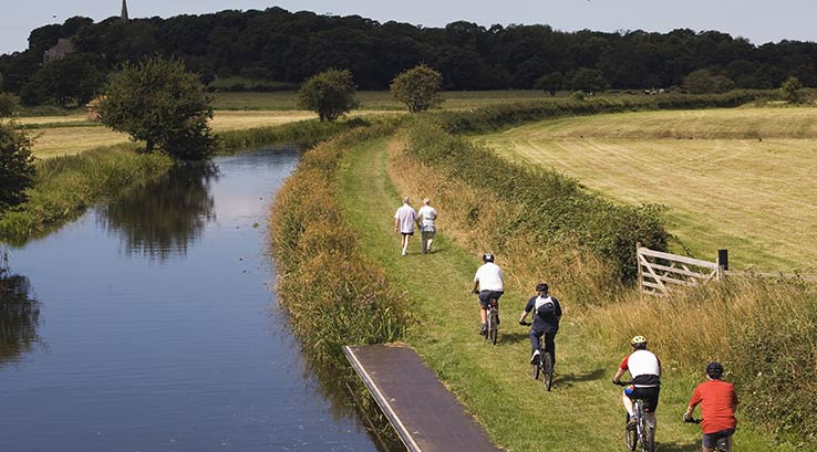 Cycling alongside Lancaster Canal near Glasson