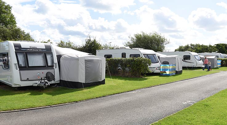 Caravans pitched at the Touring area