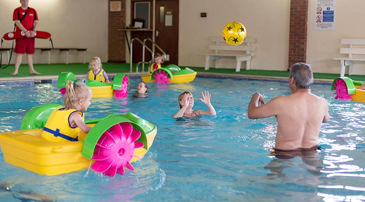 Ball games and pedallos in the indoor pool