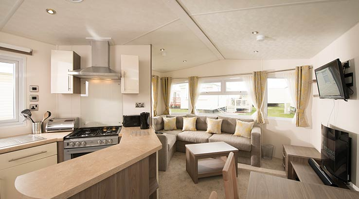 Interior of a Delta Ascot 2-bed caravan
