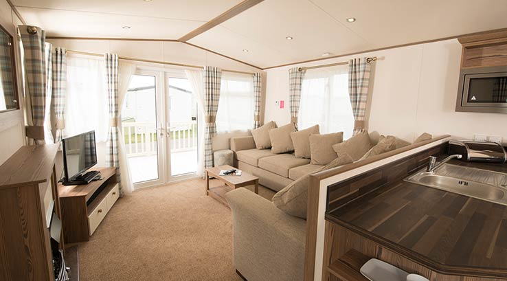 Interior of a caravan at Tummel Valley