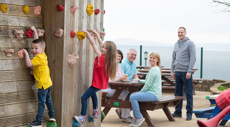 Fun on the climbing wall at Wemyss Bay