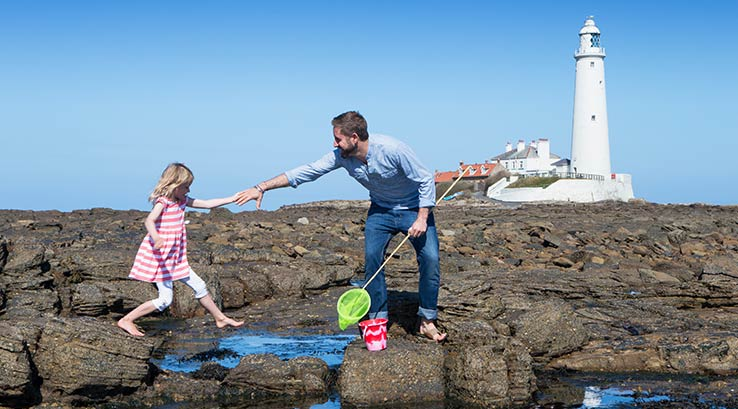 Rockpooling near Whitley Bay Lighthouse
