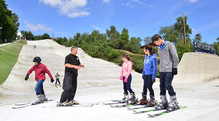 Skiing on the dry slope at Warmwell