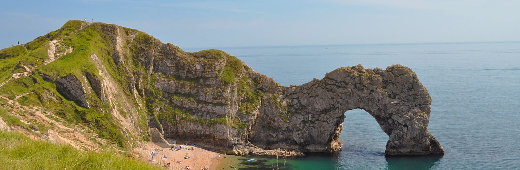 The view overlooking spectacular Durdle Door and beach
