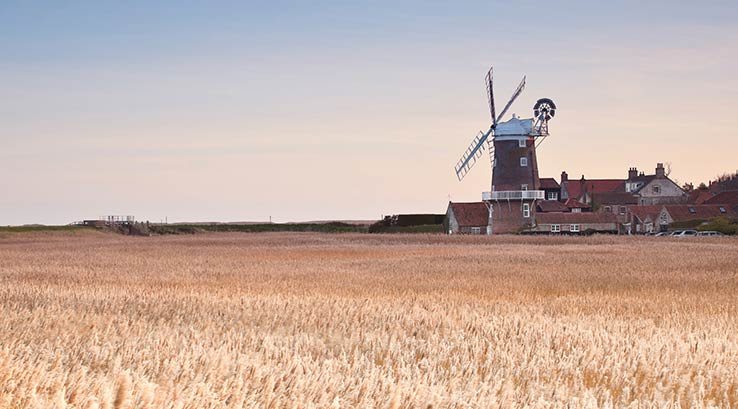 A view across a field of Cley Windmill in Norfolk
