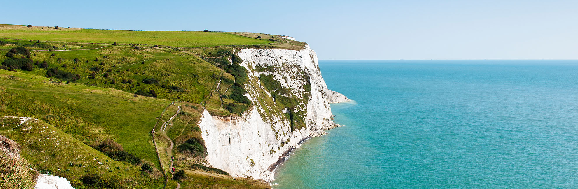 The White Cliffs of Dover on a sunny day
