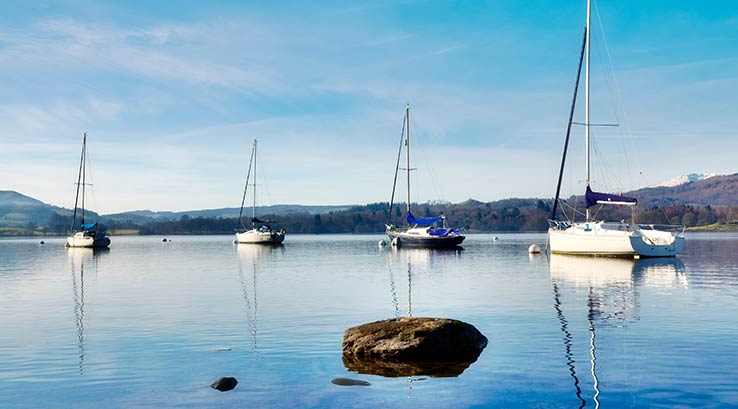 Boats on Lake Windermere, Lake District