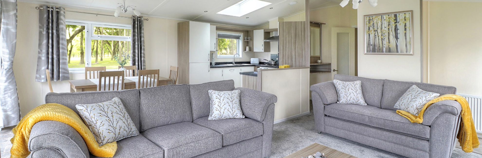 A spacious open plan lodge living area