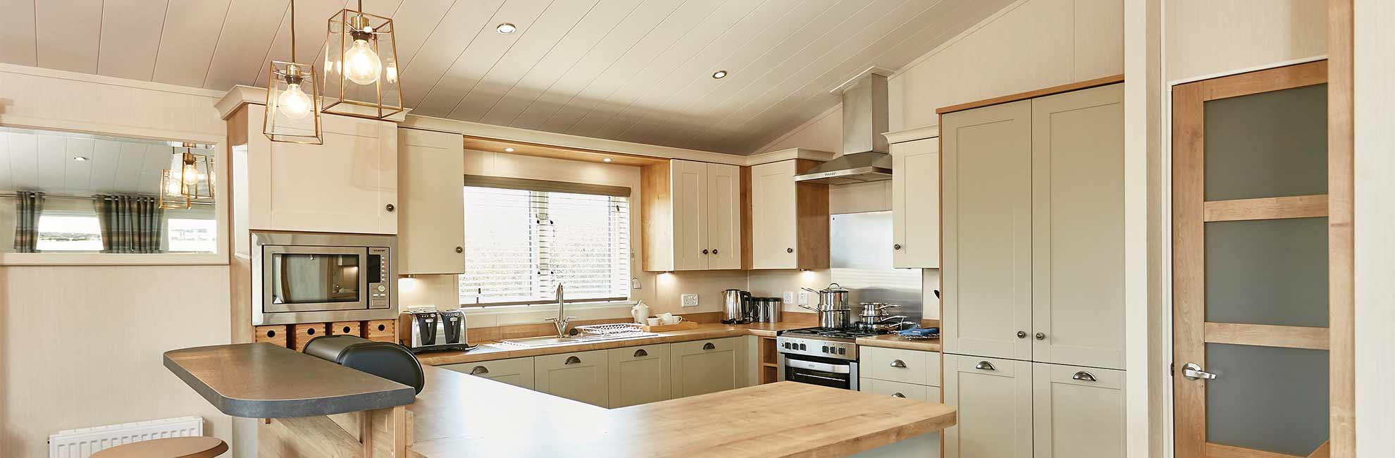 A bright lodge kitchen interior