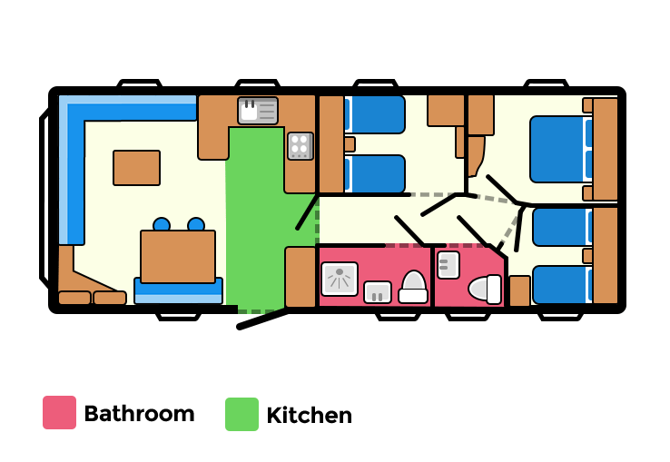 New for 2018, this fantastic extra wide caravan has a modern style and is fully equipped with everything you need for a great holiday. The double glazing and central heating ensure everyone stays cosy plus there's the benefit of an additional toilet.